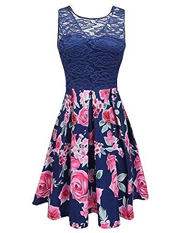 Beyove Women's Casual Flare Floral Contrast Sleeveless Party Mini Dress - Flare Mini Dress