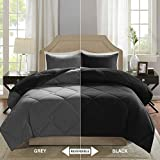 Comfort Spaces – Vixie Reversible Goose Down Alternative Comforter Mini Set - 3 Piece – Black and Grey – Stitched Geometrical Diamond Pattern – Full/Queen Size, Includes 1 Comforter, 2 Shams