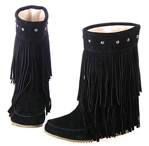 Aisun Women's Casual Fringed Studded Pull On Short Boots Round Toe Elevator Low Heels Ankle Booties With Fringe