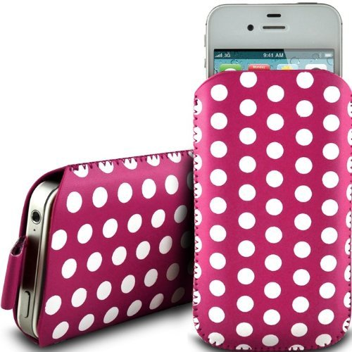 N4U Online Pink Polka Dot Premium Pu Leather Pull Flip Tab Case Cover Pouch For Blackberry Pearl 8110 -