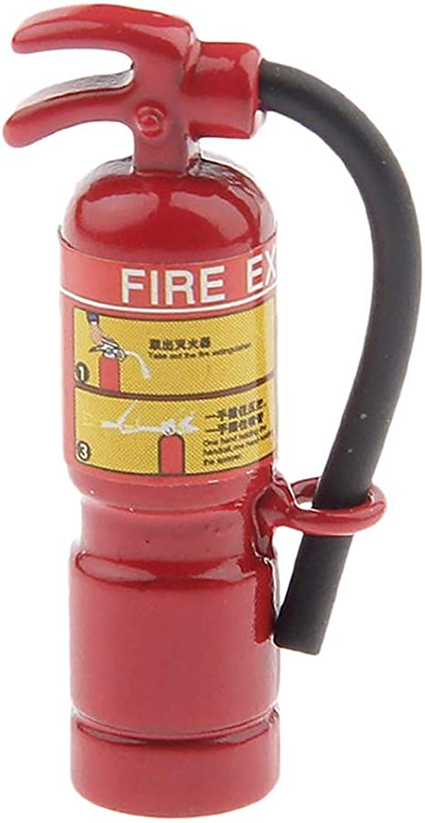 1:12 Scale Red Fire Extinguisher Dolls House Miniature Accessories。