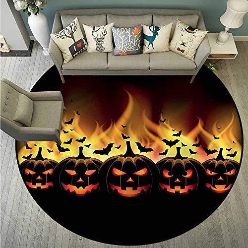 Round Carpet,Vintage Halloween,Jack o Lanterns,Super Absorbs Mud,2'11