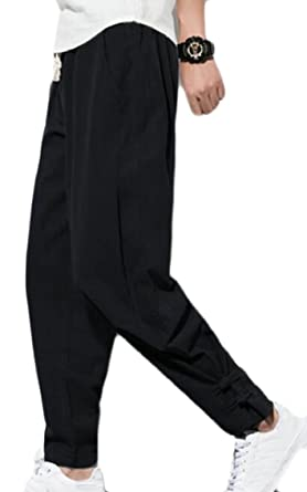 dbc471e3d6b security Men Vintage New Pant Plus Size Linen New Drawstring Pant Black XS