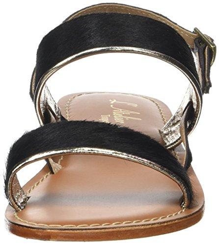Latelier Tropezien Ladies Sandale Pony Sandali Romani Noir (nero)