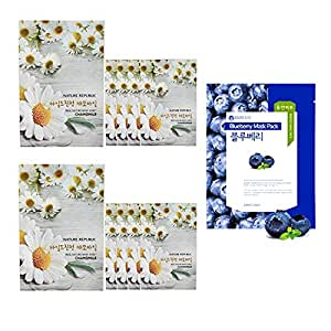 Nature Republic Real Nature Mask 10 Sheets for Skin Hydration (Chamomile)+Baresio Mask(Blueberry) 1 Sheets