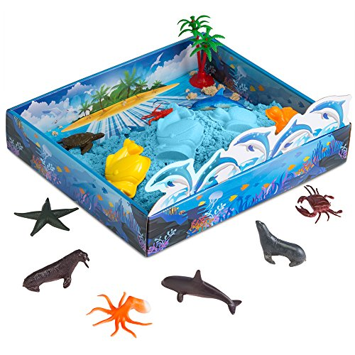 CoolSand 3D Sand Box  Kinetic Play Sand For All Ages  Includes: 10 Shaping Molds, 12 Sea Figures, 1 lb. of Cool Sand and 3D Tray - Sea Creatures Edition