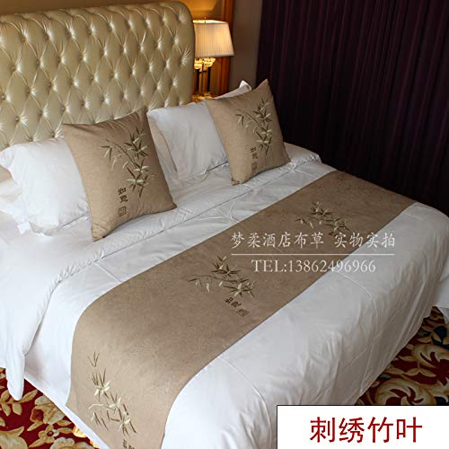 Bed Runner Bed Scarf Hotel Bedding high-Grade Pure Color Hotel Bed end Bed Tail Towel European Bed Flag, Embroidered Bamboo Leaves, 1.8m Bed (50x240)