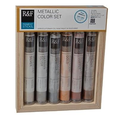 R&F Handmade Paints Pigment Sticks, Metallic Colors, Set Of 6