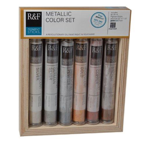- R&F Handmade Paints Pigment Sticks, Metallic Colors, Set Of 6 (2920)