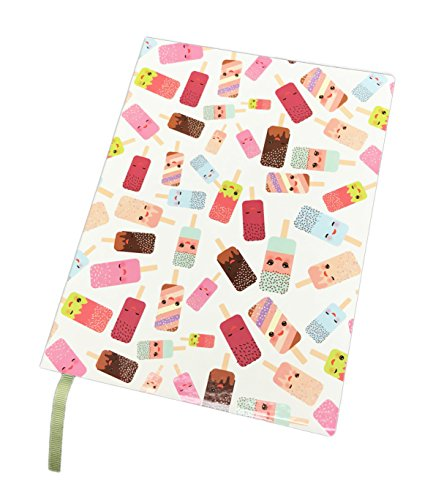 Cute Smiling Summer Ice Cream Pops Themed Lined Novelty Semi Gloss Journal Notebook 6