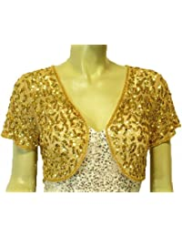 Womens Mesh Sequins Short Sleeve Bolero Shrug Jacket For Mother's Day Gifts
