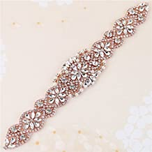 Bridal Wedding Dress Sash Belt Applique with Crystals Rhinestones Pearls Beaded Dacorations Handcrafted Sparkle Elegant Thin Sewn or Hot Fix for Women Gown Evening Prom Clothes (Rose Gold-2)