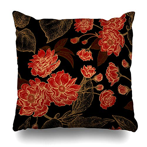 - Alfredon Throw Pillow Cover Summer Floral Pattern Leaves Flowers Branches Tree Plum Black Red Gold Design Tissue Pillowcase Square Size 20 x 20 Inches Zippered Home Decor Cushion Case