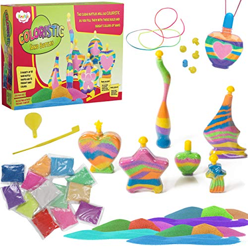 Kraftic Sand Art Includes 10 Sand Bottles, 13 3.5oz Bright Multicolored Sand Bags, Funnel, and Sand Controller (Sand Christmas Art)