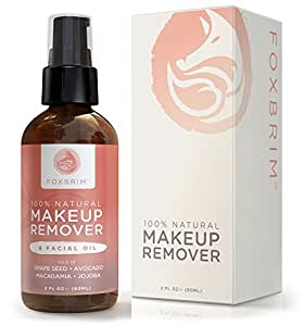 Foxbrim Makeup Remover & Facial Oil - 100% Natural - Remove Face & Eye Makeup - Nourish & Moisturize Skin - Vegan Formula With Grape Seed, Avocado, Macadamia & Organic Jojoba Oils - Foxbrim 2OZ