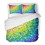 SanChic Duvet Cover Set Blue Window Abstract Stained Glass the Colored Arranged in Rainbow Spectrum Green Color Decorative Bedding Set Pillow Sham Twin Size