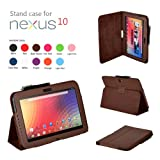 SHEROX Google Nexus 10 Case - Slim Folio Case Cover for Google Nexus 10 Inch Android Tablet (Nexus 10, BROWN)