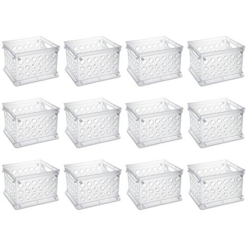 (Sterilite 16958612 Mini Crate, Clear, 12-Pack)