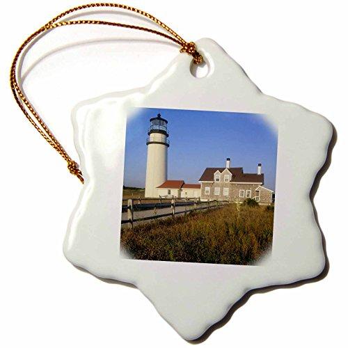 3dRose orn_90913_1 North Turo Lighthouse, Cape Cod, Massachusetts - US22 RKL0000 - Raymond Klass - Snowflake Ornament, Porcelain, 3-Inch Massachusetts Lighthouse