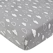 American Baby Company Heavenly Soft Chenille Fitted Crib Sheet for Standard Crib and Toddler Mattresses, Grey 3D Cloud