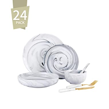 Singkasa 24-Piece Stoneware Marble Modern Dinnerware Set, Service for 4, Dinner Plates, Dessert Plates, Cake Plates, Fruit Bowls, Sugar bowls, Soup bowls Spoon, 2-Knife & Fork for Kitchen (grey)