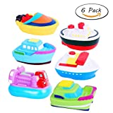 Royalsell Bath Toys Floating Boats of Water Squirting Soft Bath Tub Toy for Toddlers Bath Time 6 Pack