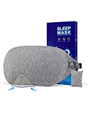 Cotton Sleep Eye Mask - 2018 New Design Light Blocking Sleep Mask, Includes Travel Pouch, Soft, Comfortable, Blindfold, 100% Handmade, Best Blinder for Travel/Sleeping/Shift Work/Meditation, Grey