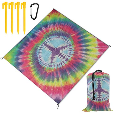 Review Of CENSIHER Picnic Blanket, Tie Dye Peace Sign Compact Duarable Beach Blanket, Camping Blanke...