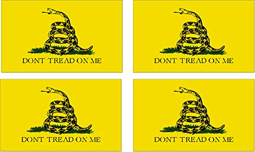 "Gadsden Flag Sticker - 4 Pack USMC United States Marine Corps US Gadsden Flag Don't Tread On Me Patriotic Military Auto Decal Bumper Sticker 5x3"" - Vinyl Decal For Cars Trucks RV SUV Boats Support US Military (Gadsden)"