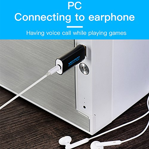 USB Sound Card Adapter, VENTION USB Audio Adapter External Stereo Sound Card With 3.5mm Aux Stereo Support Earphone with Microphone for PC, Laptops, PS4, etc by Vention (Image #3)