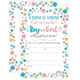 Baby : Gender Reveal Invitation, Gender Reveal Party Invite, Neutral Baby Shower Invitation, Boy or Girl, He or She, 20 Fill in Invitations and Envelopes