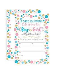 Gender Reveal Invitation, Gender Reveal Party Invite, Neutral Baby Shower Invitation, Boy or Girl, He or She, 20 Fill in Invitations and Envelopes BOBEBE Online Baby Store From New York to Miami and Los Angeles