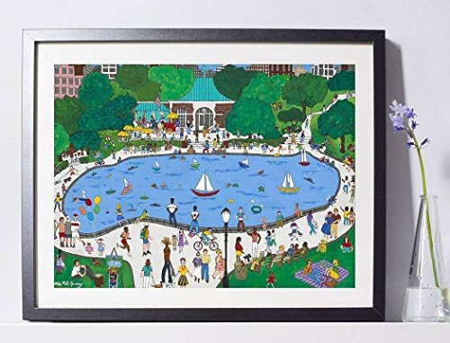 ('Central Park Boathouse' Art Painting Print Pat Singer New York PSNY - Home Decor)