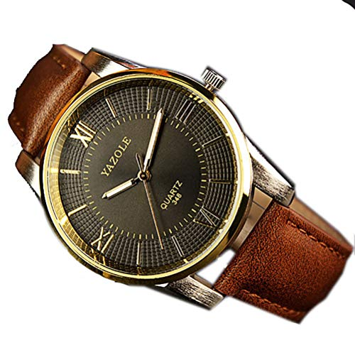 (ENCOCO Men's Leather Strap Watch Classic Analog Quartz Watch Business Casual Watch )