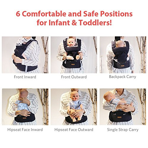 Ergonomic Baby Carrier with Hip Seat for Girls/Kids,Baby Backpack Carrier Toddler 6 Comfortable & Safe Positions, 48'' Maximum Adjustable Waistband, Perfect for Alone Nursing and Hiking (Grey)) by Hap Tim (Image #2)