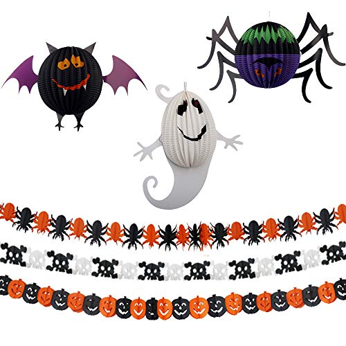 Halloween Party Supplies Party Favors Decorations - 3 pack Halloween Paper Garlands and 3 pack Halloween Paper Lanterns,Pumpkin Bat Ghost Spider Skull Shape -