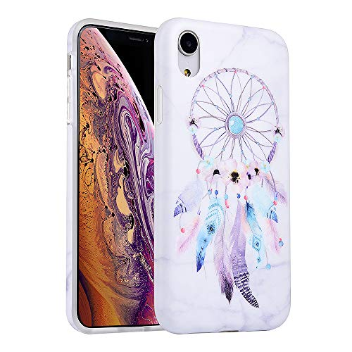 KIMICO iPhone XR Floral Marble Case, Cute Vintage Dream Catcher Feather Flower Design for Girls [Shockproof & Slim Fit] Anti-Scratch/Anti-Fingerprints Flexible Full Protective Cover (Dream Catcher XR)
