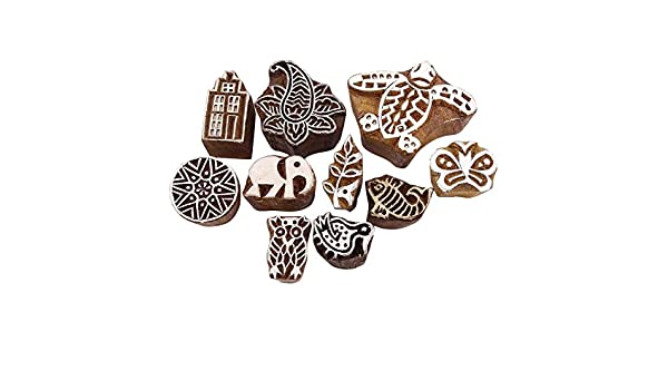 Decorativo bloque tallado a mano india de molde de madera Arte Textil sello lote de 10 piezas