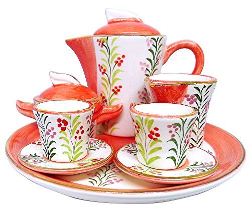 Tray Noritake China (BDJ Hand Painted Ceramic Miniature Tea Party Set for Two - 10 Pieces (Size M) (Style K))