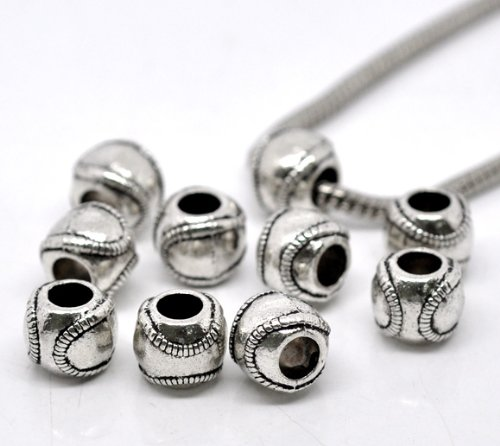 PEPPERLONELY Brand 20PC Antiqued Silver Baseball Beads Large Hole Fit European Bracelets 11x9mm]()