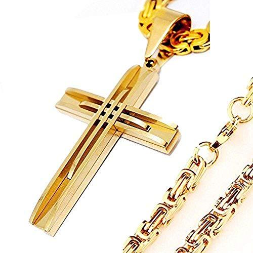 - Jml Axmerdal Gold Tone Byzantine Necklace Fashion Stainless Steel Sturdy Hollow Cross Pendant Men's Gift (24