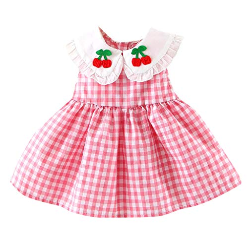 (Toddler Baby Girls Doll Collar Plaids Checked Smocked Dress Swing Casual Sundress (90, Pink))