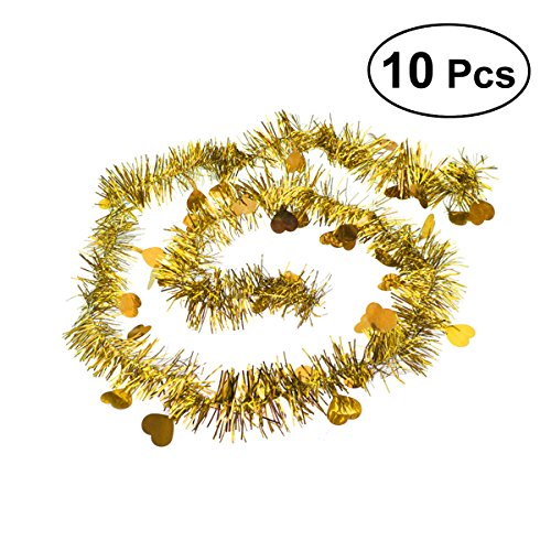 BESTOYARD 10Pcs Festooning Garland Metallic Sparkling Festival Hanging Decoration for Wedding Christmas (Yellow)
