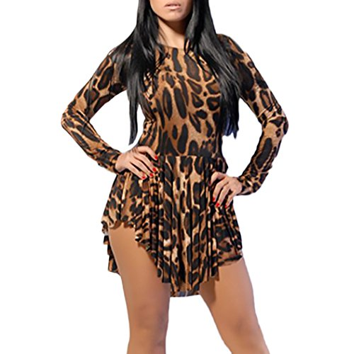 Redondo Fit Irregular Elegantes Cuello Cortos Leopardo Señoras Hippie Asimetricas Fiesta Slim Manga Larga Dresses Fiesta Vintage Moda Brown Corto Swing Mujer Vestido Vestidos De Coctel H6ncWn7C