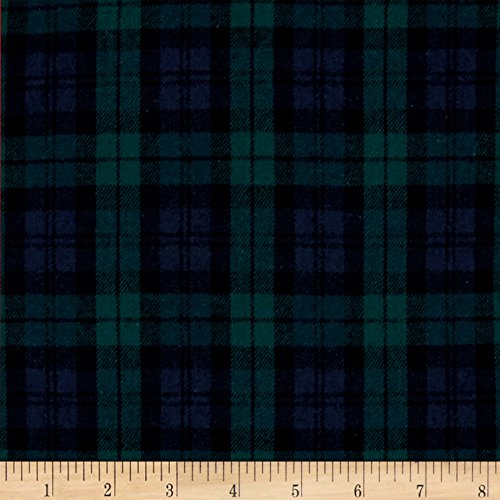Yarn Dyed Flannel Plaid Black Watch Fabric By The Yard