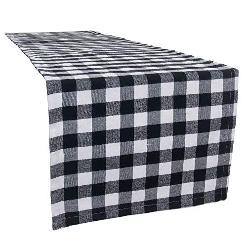 S-DEAL Buffalo Plaid Table Runner Checkered Black and White for Dinner Party Decor Wedding Family Dinners Gatherings Holiday Rectangular Gingham 14x108 Inches
