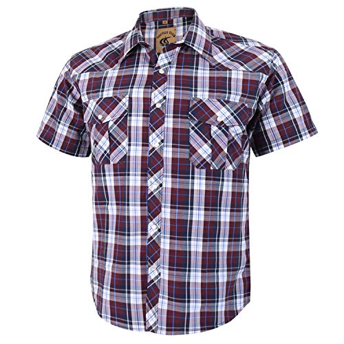 Coevals Club Men's Short Sleeve Casual Western Plaid Snap Buttons Shirt (3XL, 25# Brown Plaid)