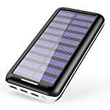 Solar Charger KEDRON 22000mAh Power Bank Portable charger with 2 Port Input & 3 Usb Output External Battery Pack for iPhone, iPad and Samsung Galaxy and More (White)