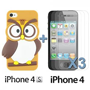 OnlineBestDigital - Owl Style Slim Soft Silicone Case for Apple iPhone 4S / Apple iPhone 4 - Brown with 3 Screen Protectors