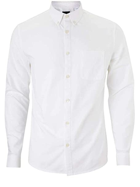 Mens Long Sleeved Oxford Shirt White Button Down Collar Slim Fit